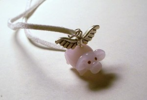 when pigs fly handmade necklace